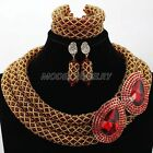 Red Chunky Crsytal Beads Jewelry Set Nigerian Wedding Bridal Necklace Set Gift