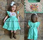 Smocked A Lot Girls Dress Hadlie Mint Embroidered Flowers Lace Birthday Vintage