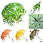 Transparent Clear Birdcage Bubble Dome Autumn Maple Leaf Rain Umbrella Parasol