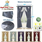 "Window 5 Piece Curtain Set 2 Panels Valance Tieback 54"" x 84"" Panel Sheer Drapes"