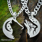 Howling Tribal Wolf with Moon Interlocking necklaces, Etched and Handcut jewelry