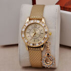 NEW Fashion Women Bracelet Bangle Faux Leather Crystal Quartz Analog Wrist Watch