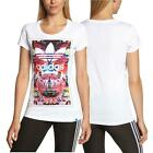 adidas Originals Flower Madness Girls Womens Cotton T-Shirt top UK 6 to 22 White