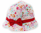 Kids Girls Pink Flowers Red Bow Bucket Sun Hat with Chin Strap Age 1 to 6