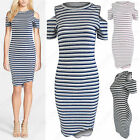 NEW LADIES COLD SHOULDER STRIPE RIB DRESS WOMENS CUT OUT SLEEVE BODYCON MIDI TOP