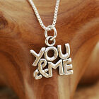 "925 Sterling Silver ""You & Me"" Pendant Necklace Handcraft Hallmark With Gift Box"
