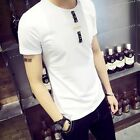 Mens Fashion Short Sleeve Crewneck Plain Slim T-shirts Casual Solid Basic Tees