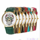 Mens Womens Sport Watch Casual Skull Gold Analog Leather Fashion Quartz Watch