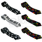 Musical Notes Guitar Piano Keys Mens Ladies Satin Unisex Skinny Neck Tie