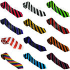 Striped Mens Ladies Unisex Satin Skinny Neck Tie Smart Black White Red