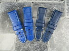 24mm Blue Deployment Strap Small Leather Short Watch Band S PAM