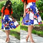 Korean Women High Waist Skater Mini Skirt Plain Flared Pleated A-Line Midi Dress