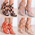 LADIES BLACK NUDE GREY ORANGE STRAPPY LASER CUT OPEN TOE STILETTO HIGH HEELS
