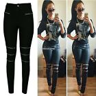Women Jeans Skinny Zipper Sexy Ripped Soft Stretchy Legging Long Pants N98B