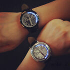 HQ Waterproof Unisex Chic  LED Watch Genuine Leather Wristwatch