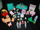 Little Tikes Dollhouse Furniture Lot with People Car Trailer