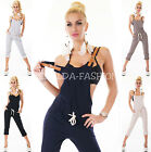 SEXY DAMEN CAPRI SWEAT  LATZ HOSE OVERALL JUMPSUIT BEQUEM LOCKER 36-38