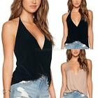 Women Summer Sexy Sleeveless Blouse Cotton Casual Blouse V-Neck Backless T Shirt