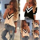 New Sexy Women Ladies Casual Loose V Neck Long Sleeve Top Blouse Tee Shirt