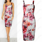 NEW WOMENS STRAPPY MIDI DRESS PINK FLORAL LADIES BODYCON SLEEVELESS CAMI SUMMER