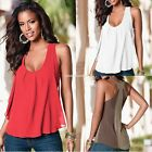 Sexy Women Loose Patchwork Casual Tank Tops Blouse Chiffon Tee T-shirt Vest New