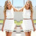 2016 Fashion Women Sexy Casual Sleeveless Slim Two Piece Set Lace Cocktail Dress