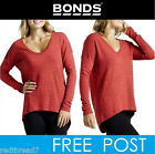 BONDS Womens Cotton Sloppy Long Drop Back Hem Top Jumper Sweater Jaffa Pullover