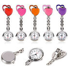 Stainless Steel Two Heart Nurse Quartz Pocket Clip-on Hanging Brooch Fob Watch