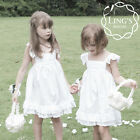 White Flower Girl Cotton Dress Wedding Bridesmaid Formal Pageant Size 8 10 12