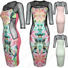 NEW WOMEN FLORAL PRINT MESH INSERT DRESS 3/4 SLEEVE LADIES SLIMMING LOOK BODYCON