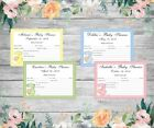 BABY SHOWER FORECAST/PREDICTION CARDS - Hanging Baby - assorted colours