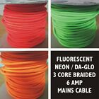 3 Core DAGLO Braided Fabric Mains Lighting Cable - 6 amps - Orange Green or Pink