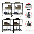 1/2/3/4 PCS 3 Tier Layer Steel Wire Metal Shelf Adjustable Shelving Rack BLACK