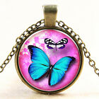 Vintage new Butterfly Pink Cabochon Silver plated Glass Chain Pendant Necklace