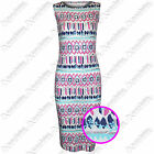 NEW WOMENS AZTEC PINK SILVER PRINT SLEEVELESS LADIES DRESS MIDI BODYCON TOP VEST