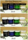 60ml Glass Ointment Jars Cosmetic Pot Aromatherapy BLUE CLEAR AMBER or GREEN