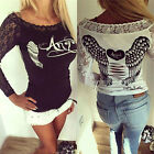 New Womens Loose Lace Long Sleeve Sexy Slim T Shirt Casual Blouse Ladies Tops