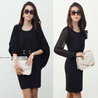 New Womens Solid Office Lady Style Chiffon Long Sleeve Tunic Mini Dress 6210