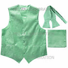 New Men's aqua green vest Tuxedo Waistcoat self tie bow tie and hankie set prom