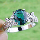 Delicate Jewelry Oval Cut Green & White Topaz Gemstone Silver Ring Size 7 8 9 10