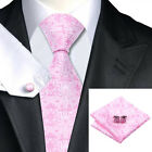 New 100% Pale Pink Silk Tie, Pocket Square & Cuff links Set For Weddings, Proms