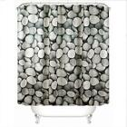12pcs Ring Pull Pebbles Pattern Family Bathroom Shower Curtain Simple Polyester