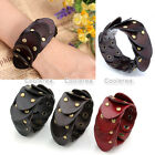 Fashion Punk Mens Wide Genuine Leather Snake Belt Bracelet Cuff Wristband Bangle