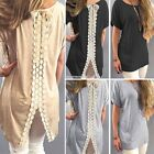 AU 8-16 Boho Womens Ladies Cotton Tee Blouse Long Tops Lace T-Shirt Shirt Dress