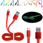 Luminous Flat 2A Micro USB2.0 Charger Sync Data Cable Cord for Android Samsung
