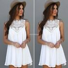 Women Lace Chiffon Sundress Cocktail Party Summer Dress Casual Sleeveless Tops