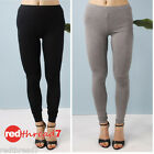 Womens Black Leggings Cotton Jersey Stretchy Spandex Charcoal Pants New Boutique