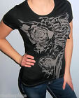 NWT Sexy Black FOX RACING RIDERS Contrast SKELETON GRAPHIC  Shirt Top TEE S M L