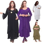 R957 MAXI LONG DRESS LAYERED BELL SLEEVE LotusTraders MADE TO ORDER FASHION CHIC