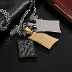AgentX Tough Man Dog Tag Pendant Mens Stainless Steel Chain Necklace 3 Colours